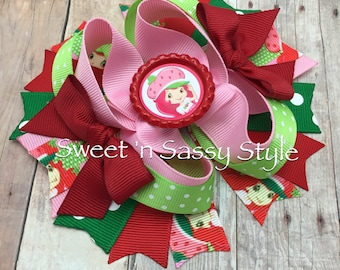 "Strawberry Shortcake Red, Pink and Green 5"" Stacked Hair Bow"