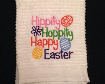 Hippity Hoppity Happy Easter  Dish Towel