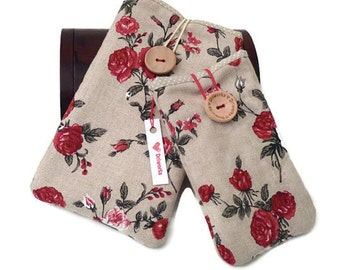 HtC 10 case Flower, HtC One A9 flower case, HTC M9 pouch, HTC One M8 sleeve, HTC One M7 phone case - Linen roses fabric