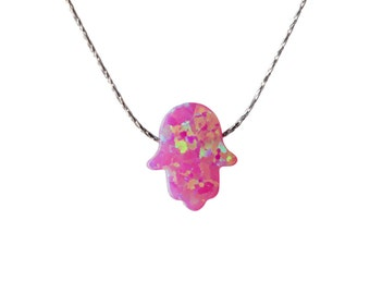 Hamsa Pink Opal Necklace Dainty 925 Silver Necklace Pendant Evil Eye Handmade Free UK delivery + Gift Box + Gift Bag