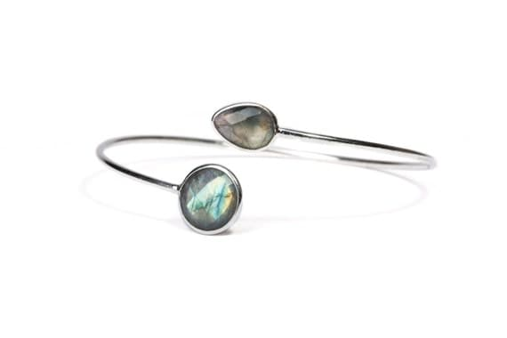 Dainty Labrodite Gemstone Sterling Silver Cuff Bracelet Adjustable Gift Boxed + Giftbag + Free UK Delivery