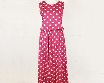 Vintage Midi Dress Pink White Polka Dot Print Sleeveless 90s Womens Size 10 to 12