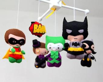 Baby Mobile-Baby Crib Mobile-Super Hero Mobile-Nursery Super Heroes Mobile-Joker,Batman,Robin,Penguin,Catwoman