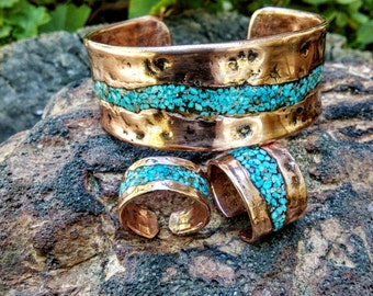 Turquoise Inlay Copper Cuff and Ring Set.  Black Tourmaline,  Pyrite, Turquoise Inlay. 1mm X 26mm Thick and Wide.