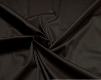 Fabric cotton elastane satin dark brown noble