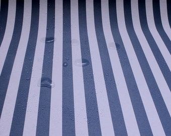 Fabric cotton acryl block stripes blue white cagoule coated table cloth