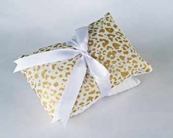 Microwave Heat Pack, Corn Bag, Medium, Moist Heating Pad, Cold Pack, Gold Leopard Print, All Natural Pain Relief, Item #01019
