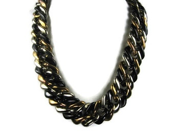 Chunky Tricolor Necklace in Black, Silver, Copper Plastic Links