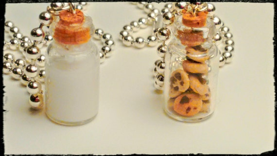 Milk and Cookies Best Friends Necklace, Miniature Food Jewelry, BFF Jewelry, Kid's Jewelry, Cookies,  Statement Necklace, Inedible Jewelry
