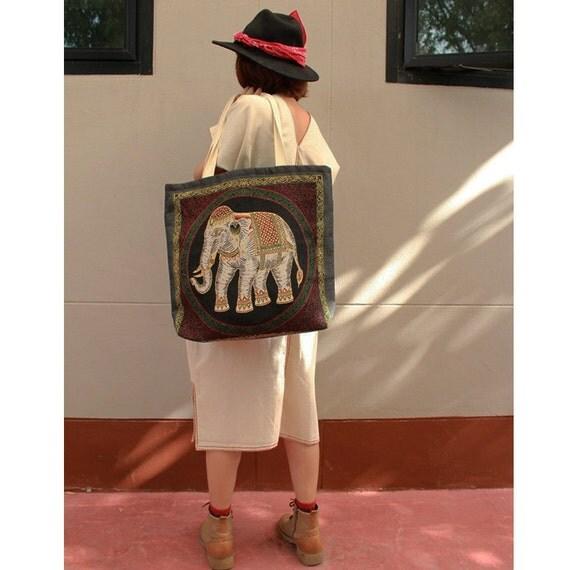 Elephants prints Cotton Canvas Zipper Market Grocery Bag Tote Handbag (HB03)