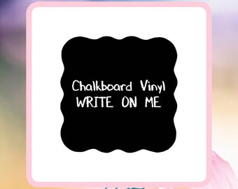 Chalkboard Wavy Erasable Removable Vinyl Craft Label or Wall Decal