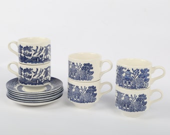 "1980's Churchill Blue Willow Ceramic Cups and Saucer Sets (6), Excellent Condition, Cups, 2-7/8"" H X 3"" Diameter, Saucer 5-1/2""."