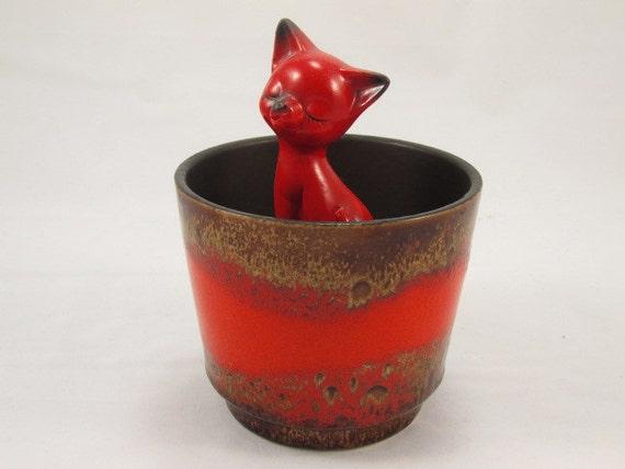 Vintage blumentopf bertopf aus keramik laufglasur rot for Blumentopf rot