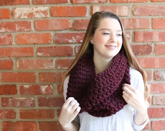 Chunky Crochet Cowl - Claret - The Ross Cowl