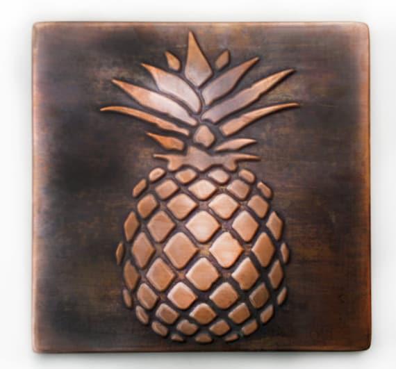 Pineapple Tile Pineapple Wall Art Pineaplle Decor Copper