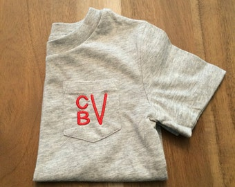 Stacked Monogram Gray Pocket Tee [boys] : embroidered / baby + toddler