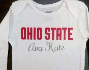 Personalized Ohio State Onesie, Baby Girl Ohio State, Newborn Baby Girl Gifts, Ohio State Gifts, Buckeyes Clothes, Scarlet and Gray, OSU fan