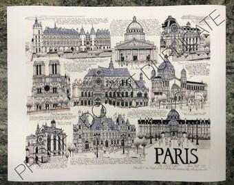 Paris, France Ink Drawing Print