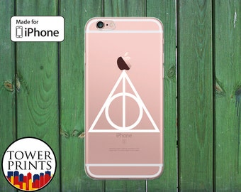 White Deathly Hallows Symbol Harry Potter Inspired Clear Phone Case for iPhone 5/5s and 5c and iPhone 6 and 6 Plus + and iPhone 6s iPhone SE