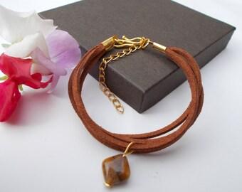 Multi strand bracelet , tiger's eye bracelet , suedette bracelet , gold plated jewelry , gemstone jewelry , brown bracelet , charm bracelet