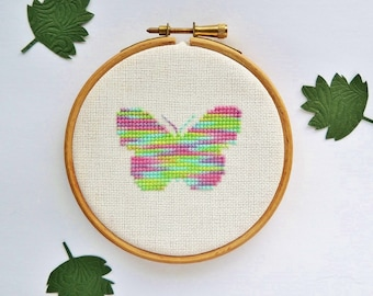 Cross stitch butterfly. Small Butterfly Silhouette. Small cross stitch pattern. Entomology. Cross stitch chart. Instant download PDF