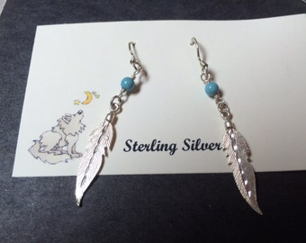 Sterling Silver Feather French Wire Earrings