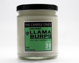 Llama Burps 8 Ounce Scented Soy Wax Candle