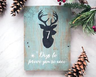Painted Christmas Sign - Reindeer Countdown