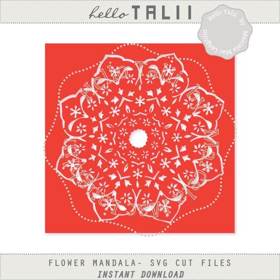 Instant Stencils Product : Flower mandala stencil svg cut files clipart hand