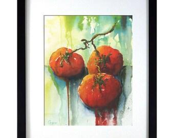 Kitchen Print| Tomato Kitchen Print | Green, Red Kitchen Art | Impressionistic Watercolor Tomato Print | Spanish Kitchen Decor