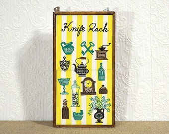 Knife Block with Decorative Tiles- Hanging Knife Rack Vintage Cottage Chic Kitchen Decor