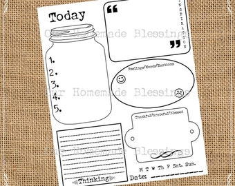 Daily Journal, Instant Digital Download, Diary, Printable Journal Prompts, Scrapbooking, Today, Lists Prompt, Memory Keeping, Currently, Jar