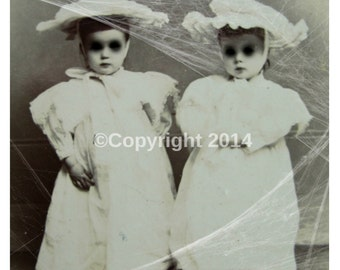 Creepy Twins Vintage Photo Victorian Vintage Altered Art Halloween Creepy Girl Children Instant Download Ephemera Scrapbook Card Supply