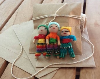 Set of 3 Indito Dolls | Guatemala MALE Worry Dolls | Quita Pena | RARE WORRYDOLLS | Perfect for Boys
