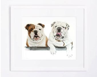 Ryan's Custom Original Watercolor Dog Portrait - 2 dogs in 1 Painting