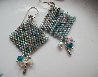Beadwoven earrings turquoise, earrings peyote green, toho beads, sterling silver earrings, pendant earrings