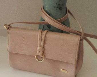 Vintage Liz Claiborne Purse-Blush Pink and Gold-Designer Purse-Pink Handbag-Blush Purse