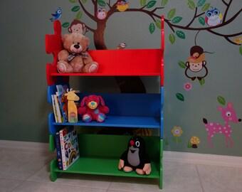 Stackable shelf / kids furniture / Kid's Bookshelf / Puzzle / Kid's Bookcase / Stackable Bookcase / Bookshelf / first birthday gift