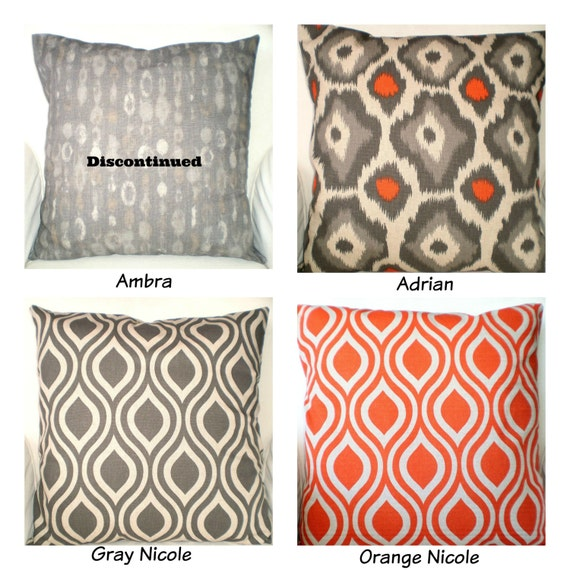 orange gray decorative throw pillow covers by pillowcushioncovers. Black Bedroom Furniture Sets. Home Design Ideas