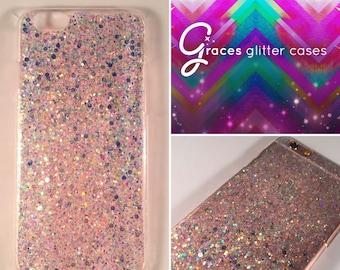 Unicorn food Iridescent star glitter iPhone 7 case, iphone 7 plus case, 7+ glitter iphone case