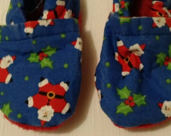 Christmas Cloth Baby Shoes You Choose The Color Size 0-6 Months