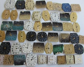 50 pcs  Watch Face Dials, From Old Watch Parts, & Dials For Steampunk Altered Art Gear, Repair, or ScrapBooking
