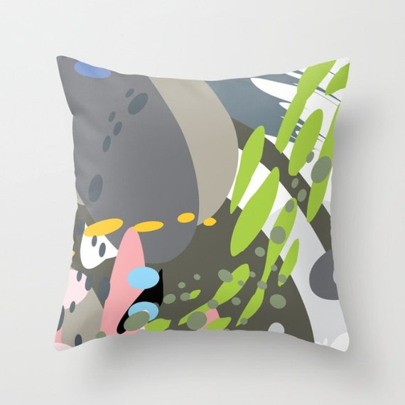 Modern Art Pillow : Modern art pillow abstract home decor gray green white