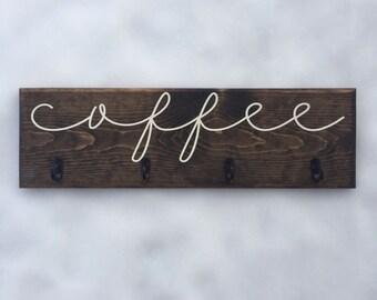Cursive Coffee Cup Rack, Handwritten Font Coffee Sign with Hooks, Custom Kitchen Decor, Mug Hanger, Wood Sign, Wall Art