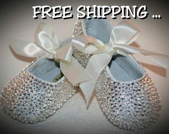 Crystal baby shoes, swarovski baby slippers , custom baby shoes, rhinestone shoes, crystal ballet slippers
