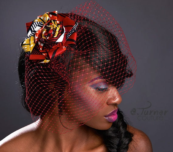 African Wedding Headpieces: Items Similar To Red African Print Fascinator