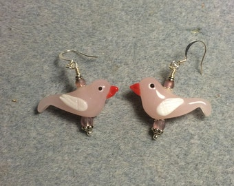 Milky pink lampwork songbird earrings adorned with pink Czech glass beads.