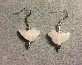 Rose quartz gemstone bird bead earrings adorned with purplish pink Chinese crystal beads.
