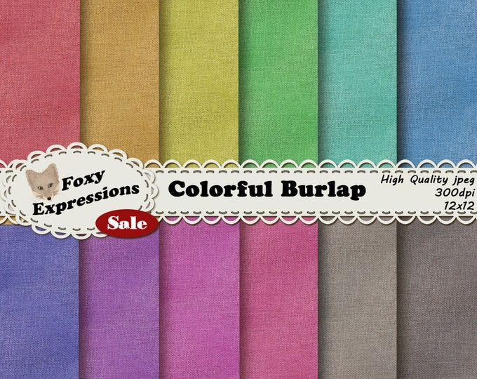 Colorful Burlap Digital Paper Pack comes seamless in beautiful shades of red, orange, yellow, green, blue, purple, pink, brown, and gray