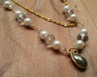 Wedding Necklace / Pearl Necklace / Bridesmaid Necklace / Labradorite